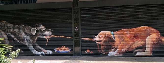 dogs mural