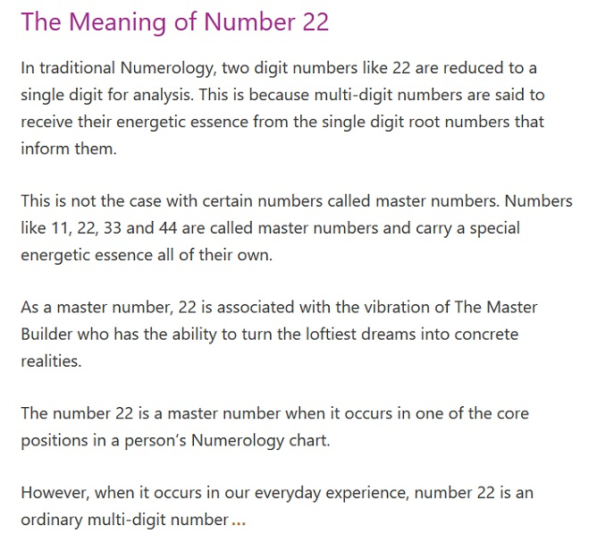 numerology number 22